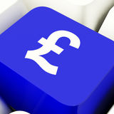 Pound Symbol Computer Key In Blue Showing Money And Investment Stock Photos