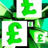 Pound Symbol On Cubes Shows Britain Currency Royalty Free Stock Photo