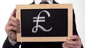 Pound symbol drawn on blackboard in businessman hands, British currency, finance. Stock footage stock photos