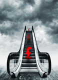Pound symbol on escalators Royalty Free Stock Image