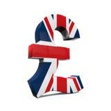 Pound Symbol with Flag Stock Photo