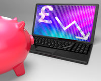Pound Symbol On Laptop Shows Britain Finances Stock Photo