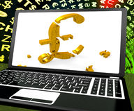 Pound Symbol On Laptop Shows Britain Online Marketing Royalty Free Stock Photos