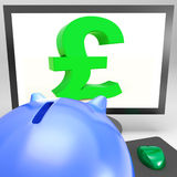 Pound Symbol On Monitor Shows Britain Wealth Royalty Free Stock Image