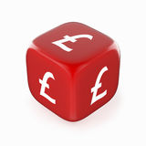 Pound Symbol on Red Dice. White pound currency symbol on red dice. 3D image royalty free illustration