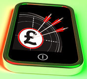 Pound Symbol On Smartphone Shows Kingdom Wealth Royalty Free Stock Photos