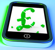 Pound Symbol On Smartphone Shows United Kingdom Stock Photography