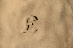 Pound Symbol Under the Sand. British Pound Sterling Symbol or Sign Covered with Sand in the Sun after Crisis royalty free stock image