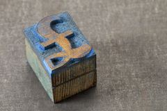 Pound symbol - wood type block Royalty Free Stock Photography