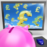 Pound Symbols Flying On Monitor Showing Britain Wealth Royalty Free Stock Images