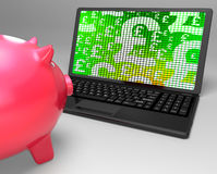 Pound Symbols On Laptop Shows British Investments Royalty Free Stock Image