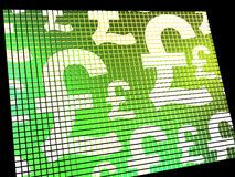 Pound Symbols On Screen Showing Money And Investment Stock Photo