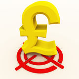 Pound on target. The pound symbol on a red target, currency buy sell and trade concept vector illustration
