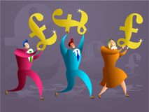 Pound team. Team of colourful executives carrying golden pound symbols - concept illustration royalty free illustration