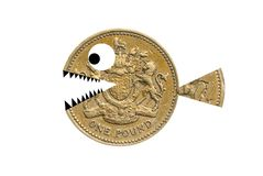 Pound with teeth. Shark-like pound coin. Isolated Royalty Free Stock Images