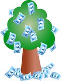 Pound tree. Pound notes growing on a tree Stock Photo