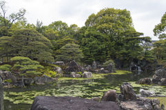 Pound and trees at Nijo Castle, Kyoto, Japan Stock Photos