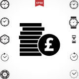 Pound Vector Icon. Money Pound Icon or Flat Sign. National UK Currency Vector Symbol Isolated Royalty Free Stock Photos