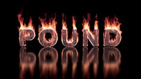 Pound word burning in flames on the glossy surface, financial 3D background stock footage