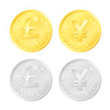 Pound and Yen Coins Royalty Free Stock Image