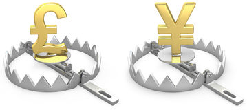 Pound and yen symbols in a bear trap Royalty Free Stock Images