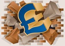 Pound-Zeichen, das durch eine Backsteinmauer explodiert vektor abbildung