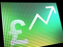 Pound-Zeichen und hoher Pfeil auf Bildschirm stockfotos