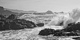 Pounding Surf in Monochrome Royalty Free Stock Image