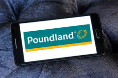 Poundland store chain logo. Logo of Poundland store chain on samsung mobile. Poundland is a British variety store chain founded in 1990 that sells most items in Royalty Free Stock Photography