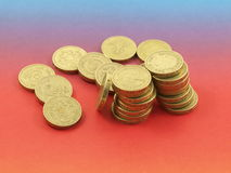 Pounds. On red and blue background stock images