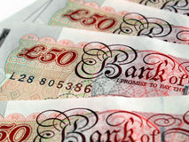 Pounds. Detail of British Pounds banknotes money Royalty Free Stock Photos