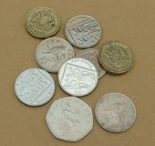 Pounds. British Pounds coins currency of United Kingdom Stock Images