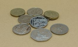 Pounds. British Pounds coins currency of United Kingdom Royalty Free Stock Image