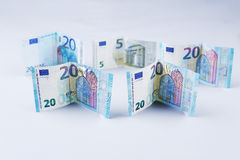 Pounds, 20 British Pounds and Euro banknotes Stock Photography