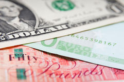 Pounds euros and dollars Royalty Free Stock Photo