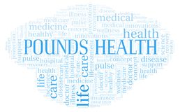Pounds Health word cloud. Wordcloud made with text only stock illustration