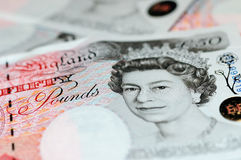 Pounds note - Fifty. Brand new £50 notes with Queen Elisabeth Royalty Free Stock Photos