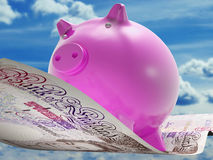 Pounds Note Pig Shows Prosperity And Investment Royalty Free Stock Photos