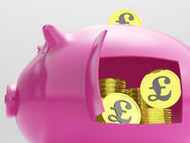 Pounds In Piggy Shows Currency And Investment Stock Photography