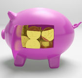 Pounds In Piggy Shows UK Profit And Prosperity. Pounds In Piggy Showing UK Profit Investment And Prosperity Royalty Free Stock Photos