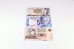 Scottish Pounds sterling banknote. Three banknotes of pounds sterling money stock image