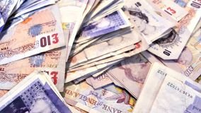 Pounds sterling UK bank notes high angle overhead stock video footage
