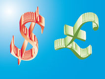 Pounds and usd. On blue background Stock Photos