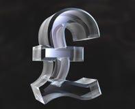 Poundsymbol im Glas - 3D Stockfotografie