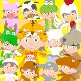 Poupée animale d'enfant de zodiaque chinois, année de l'illustration de tigre Photos stock