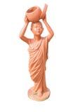 Poupée d'argile de novice bouddhiste tenant la poupée d'argile de cuvette d'aumône à thaïlandais photo stock