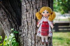 Poupée de chiffon dans le costume folklorique roumain traditionnel Photographie stock
