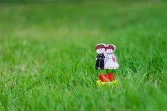 Poupée de couples de mariage sur le champ d'herbe Photographie stock