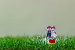 Poupée de couples de mariage sur le champ d'herbe Image libre de droits