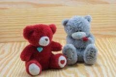 Poupée de deux ours avec amour de chiot Image stock